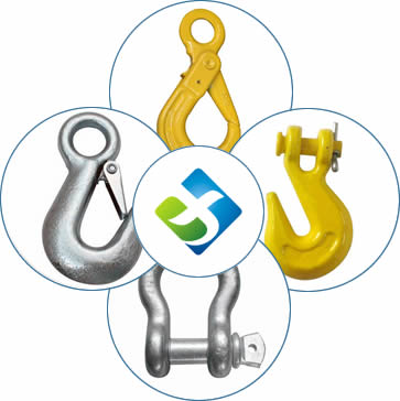 The picture in the center shows our company. Around it there are connecting link, self-locking hook, clevis grab hook, eye slip hook, shackle and cluster hook one by one.